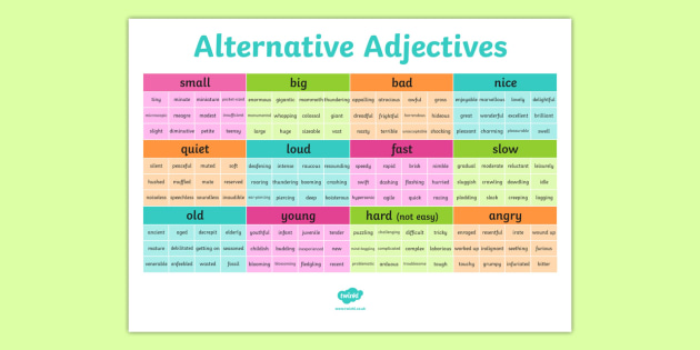Alternative Adjectives Vocabulary Grid  adjectives