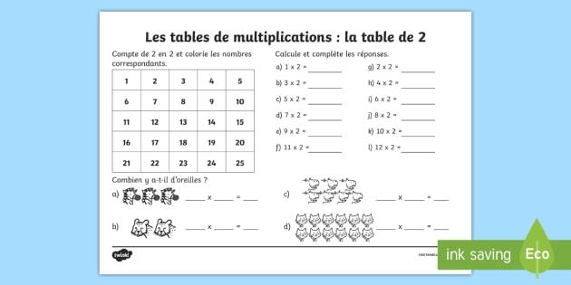 table de 2 les multiplications feuille