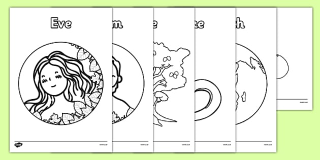 Adam And Eve Creation Story Colouring Sheets Teacher Made