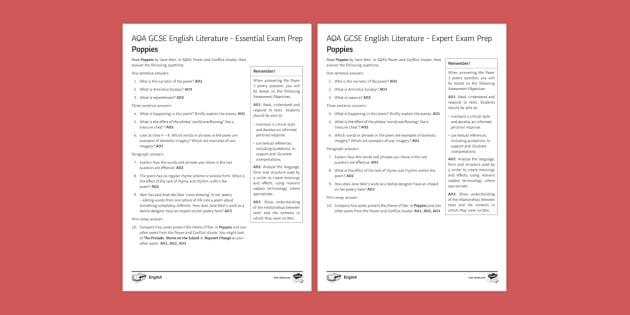 AQA GCSE Poetry Exam Prep - Poppies