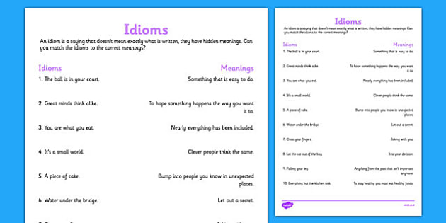 Idioms And Their Meanings Teacher Made