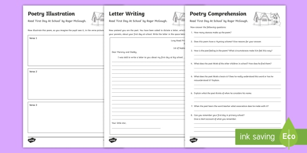 Poetry Worksheet Activity Sheets To Support Teaching On