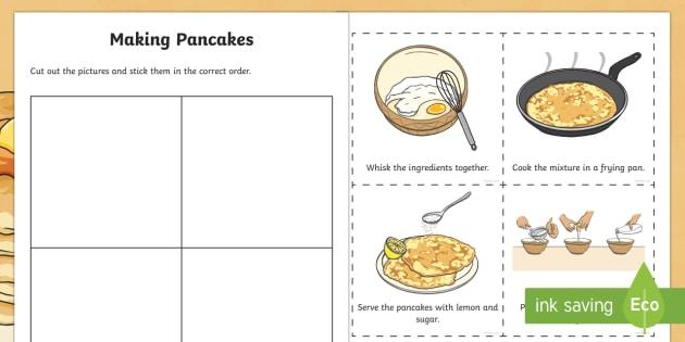 Making Pancakes Sequencing Worksheet Activity Sheet