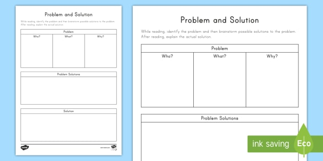 Problem and Solution Worksheet / Activity Sheet