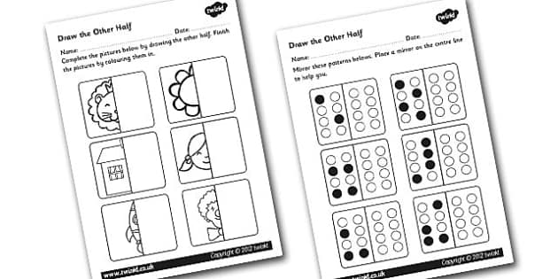 Draw The Other Half Symmetry Worksheet / Worksheet