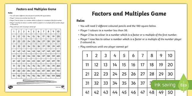 Multiples and Factor Game - Board Game (teacher made)