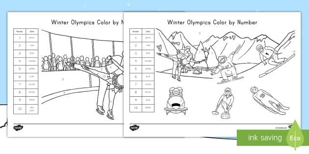 Winter Olympics Color By Number Teacher Made