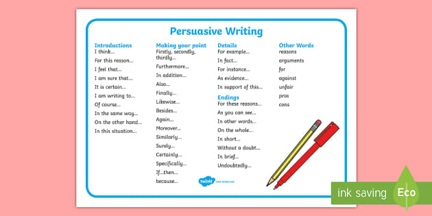 Persuasive Writing Word Mat Formal Writing Guide