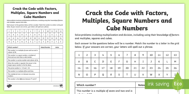 Crack the Code with Factors, Multiples, Squares and Cube Numbers Worksheet
