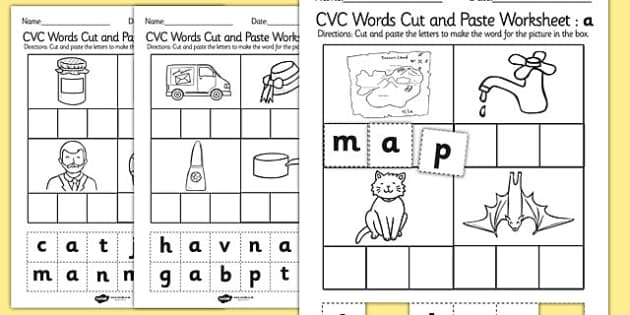 English Cut And Paste Worksheets