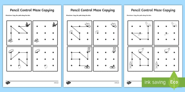 Pencil Control Maze Copying Worksheet Activity Sheet