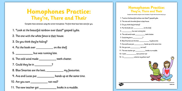 Homophones Practice Worksheet They Re There Their