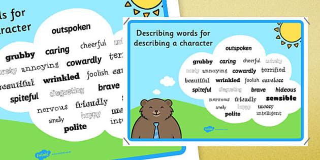Adjectives To Describe a Character - descriptive words poster