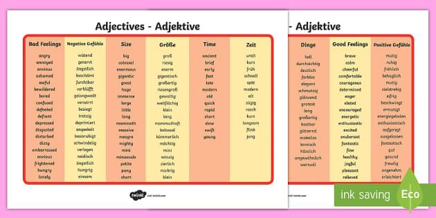 Adjective Word Mat - English / German - Englisch