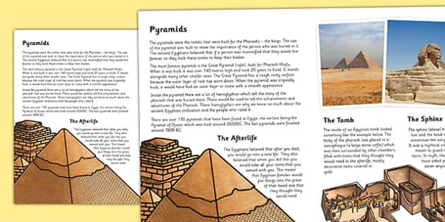 The Ancient Egyptians The Pyramids Information Print Out