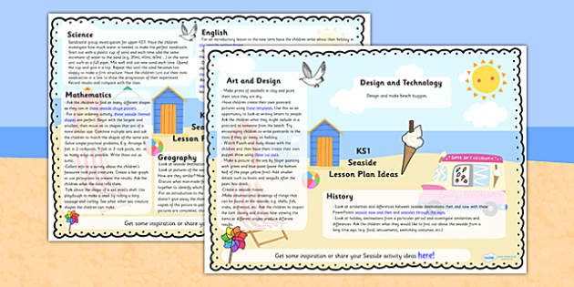 Seaside Lesson Plan Ideas KS1 Seaside Lesson Planner