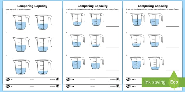 Year 3 Compare Capacity Differentiated Worksheet / Activity