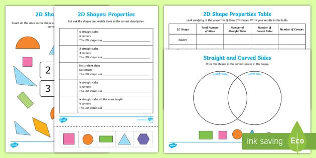 Properties Of 2d Shapes Worksheets Teacher Made