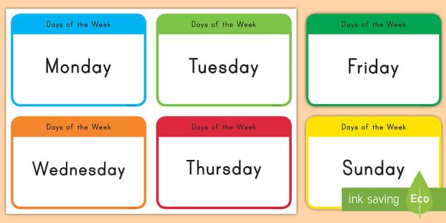 Days of the Week Flash Cards (teacher made)