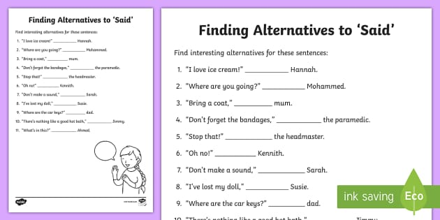 Synonyms For Said Worksheet