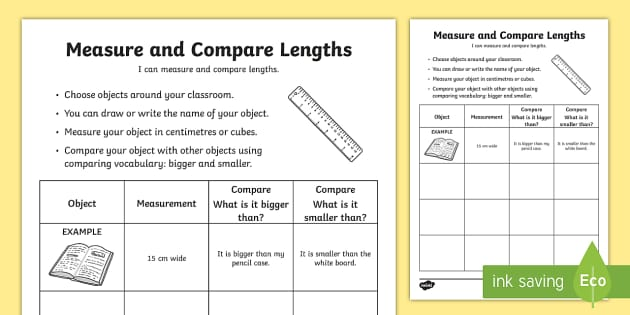 Measure And Compare Lengths Worksheet  Activity Sheet