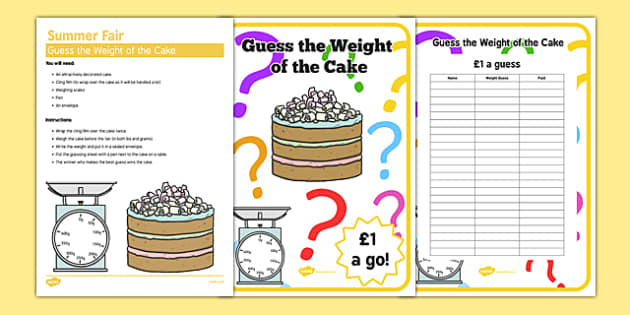 Care Home Summer Fair Guess The Cake Weight Elderly