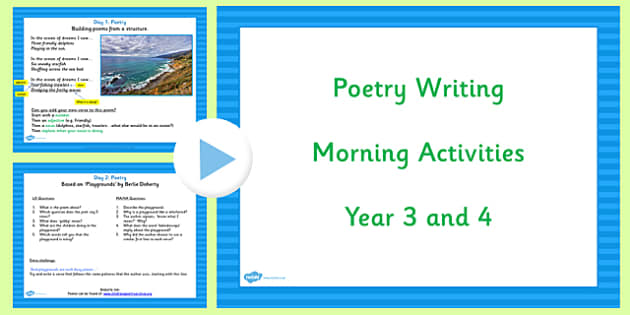 Year 3 and 4 Poetry Writing Activities   English