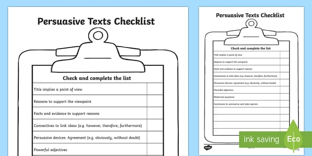 Persuasive Texts Checklist Persuasive Texts Writing