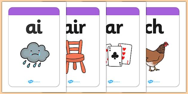 Large Phase 3 Mnemonic Word / Image Cards - Phonemes. Phase 3