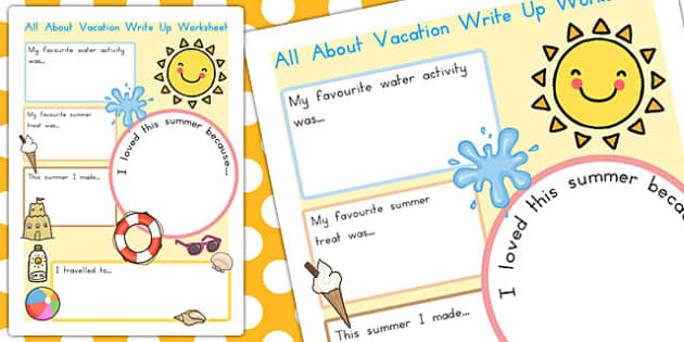 All About My Summer Vacation Writing Activity Teacher Made