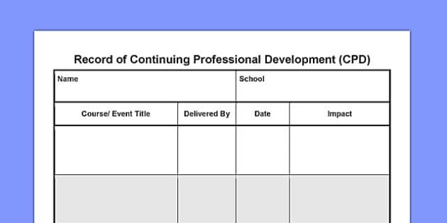 Record of Continuing Professional Development CPD - record