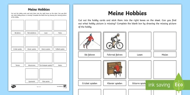 Hobbies Word And Picture Matching Activity German