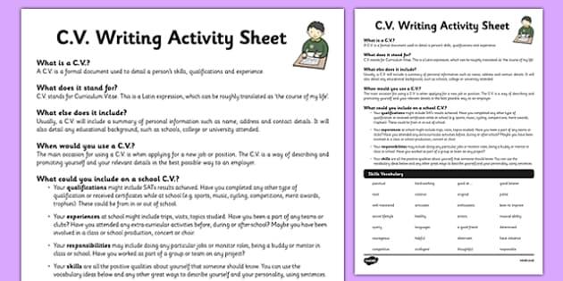 CV Worksheet Activity Sheet Cv Activity Sheet Life