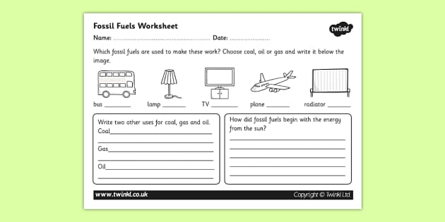 Fossil Fuels Renewable And Nonrenewable Resources Worksheet