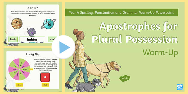 Year 4 Apostrophes for Plural Possession Warm-Up PowerPoint