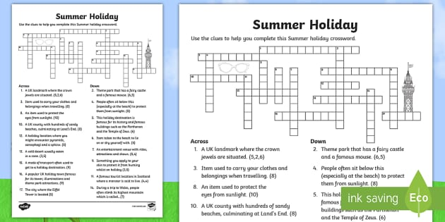 Summer Holiday Crossword  Puzzle, Activity, Long Journey