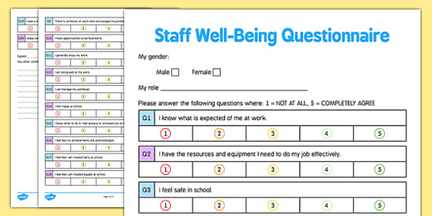 Staff Well Being Questionnaire Checklist