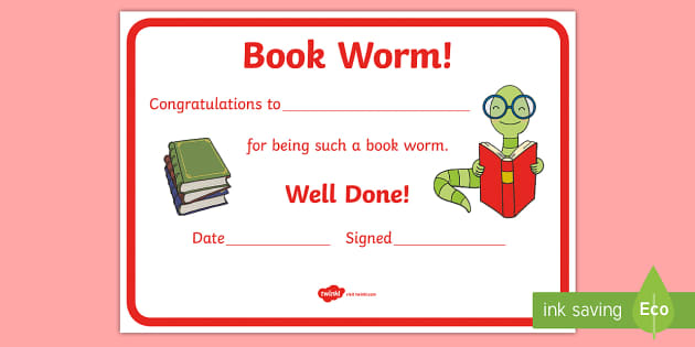 Reading Certificates Book Worm Certificate - reading award