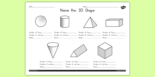 Name The 3d Shape Worksheet 1