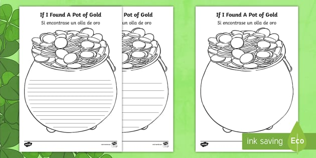 If I Found A Pot Of Gold Writing Template English Spanish