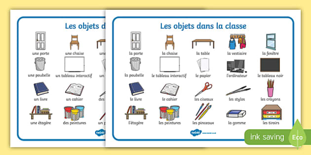 french words for objects in a classroom