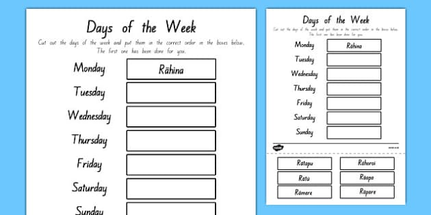 Days of the Week Cut and Stick Worksheet / Activity Sheet Te Reo