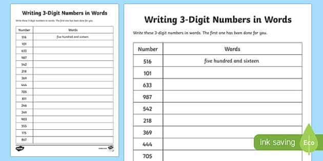 Place Value Writing 3 Digit Numbers In Words Worksheet