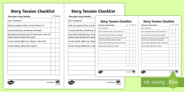 Story Tension Checklist Story Tension Story Writing
