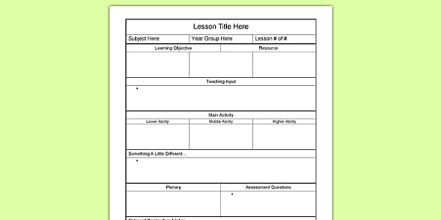 printable lesson plan templates for teachers
