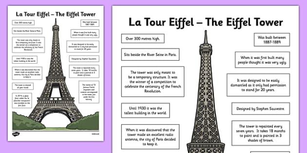 Eiffel Tower Fact Sheet CfE Second Level Landmarks Paris
