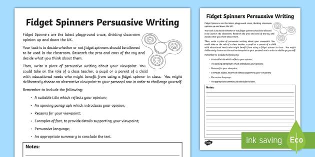 Fidget Spinners Persuasive Writing Worksheet Worksheet