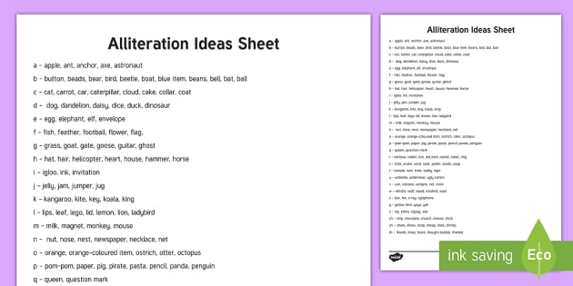 Alliteration Ideas Sheet Eyfs Childminders