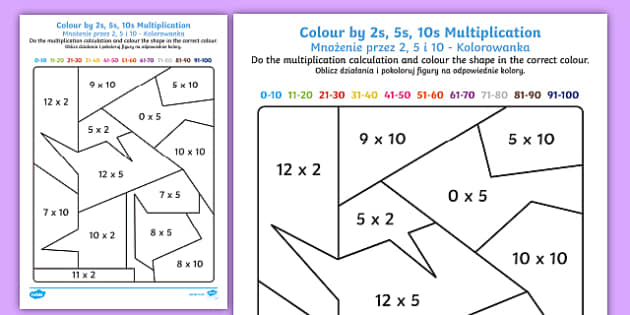Colour By 2s 5s And 10s Mixed Multiplication English