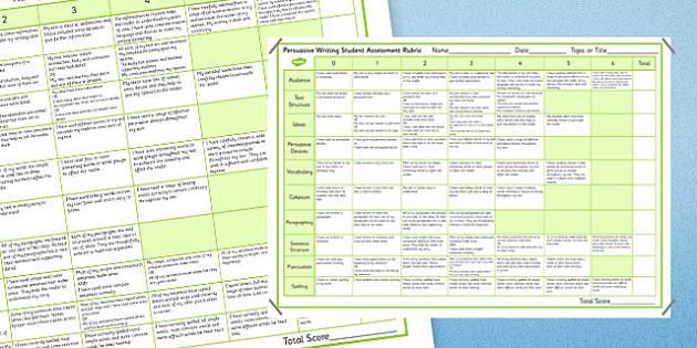 Persuasive Writing Student Assessment Rubric - Persuasive